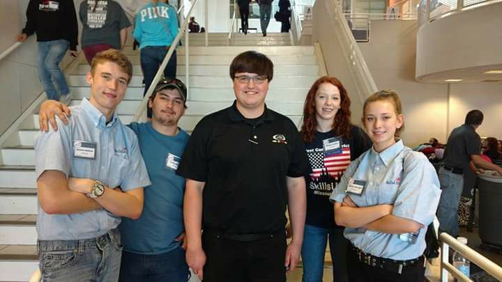 Five CTC students at the 2017 Missouri State SkillsUSA competition