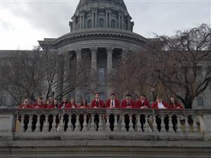 SkillsUSA Legislative Day outside the capitol building in Jefferson City.