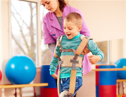 Child receiving physical therapy