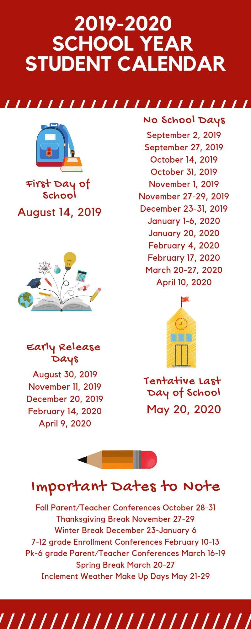 The 2019-2020 student calendar is now available.