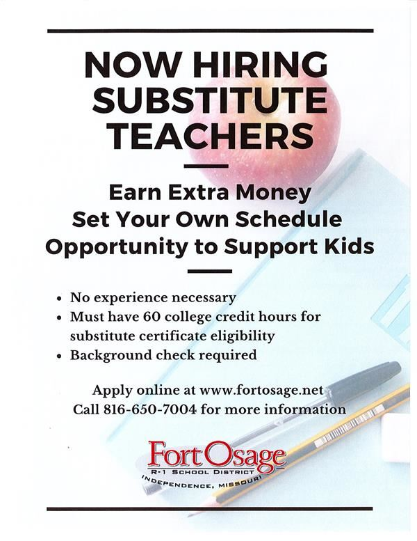 come join the Fort Osage in one of many open positions.  Find out more at www.fortosage.net